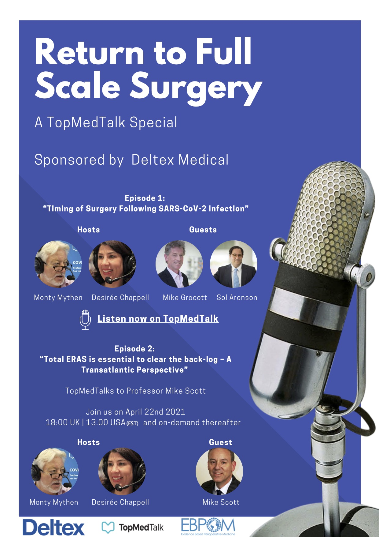 Return-to-Surgery podcasts supported by Deltex Medical