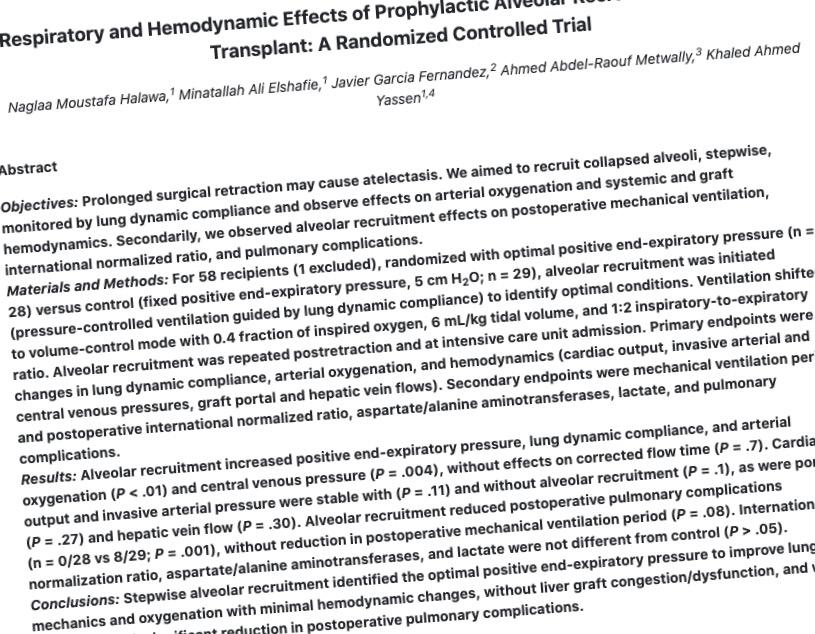 RCT: EDM+ monitors hemodynamics during lung recruitment in liver transplantation